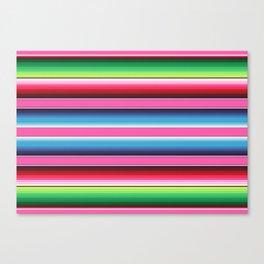 Pink Green Blue Mexican Serape Blanket Stripes Canvas Print