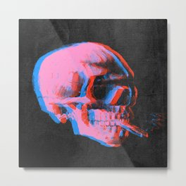 Van gogh skull with burning cigarette remixed b Metal Print