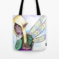 elf Tote Bags featuring Elf by Flying Cat Artwork