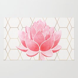 Lotus Blossom - Blush Pink and Metallic Gold Rug
