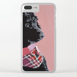 Black Standard Poodle in Pink Clear iPhone Case