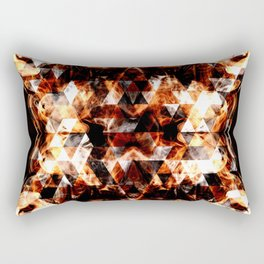 Electrifying orange sparkly triangle fire flames Rectangular Pillow