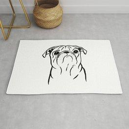 Pug (Black and White) Rug