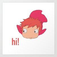 ponyo Art Prints featuring Ponyo by Etiquette