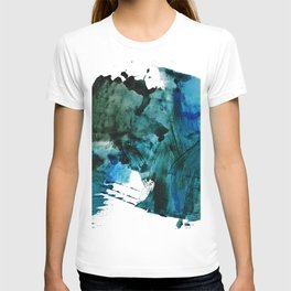 Scenic Route: a pretty, minimal abstract piece in blue and green by Alyssa Hamilton Art T-shirt