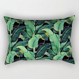 Watercolor banana leaves night pattern Rectangular Pillow