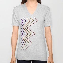 zigzag Design ethnic lines on white Unisex V-Neck