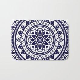 Blue & White Patterned Flower Mandala Design Bath Mat