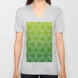 Japanese style wood carving pattern in green Unisex V-Neck