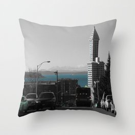 Smith Tower Blue water Throw Pillow