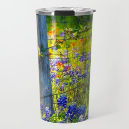 Country Living - Fence Post and Vines Among Bluebonnets and Indian Paintbrush Wildflowers Travel Mug