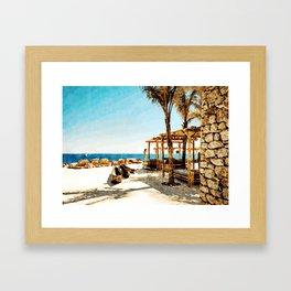 Watercolor Painting of Mykonos Beach Framed Art Print