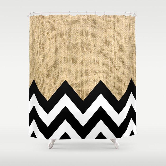 BURLAP BLOCK CHEVRON Shower Curtain