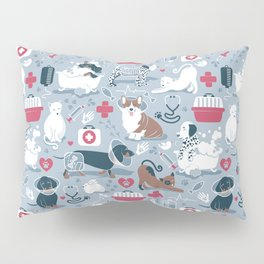 Veterinary medicine, happy and healthy friends // pastel blue background Pillow Sham