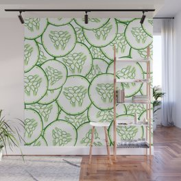 Cucumber slices pattern design Wall Mural