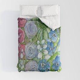 Rainbow Garden Watercolor Ink Painting Comforters