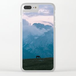 Mountain Sunset Horse - Landscape Wildlife Photography Clear iPhone Case