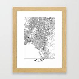 Athens White Map Framed Art Print