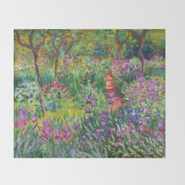 Claude Monet - The Iris Garden At Giverny Throw Blanket