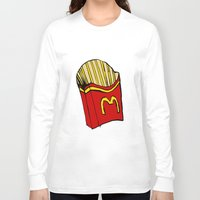 fries Long Sleeve T-shirts featuring Large Fries by Daniel Emmerig