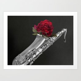 Black White Saxophone Red Rose Musical Instrument Art A508 Art Print