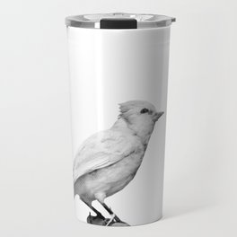 Albino Blue Jay - Square Format Natural History Bird Portrait Travel Mug