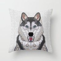 husky Throw Pillows featuring Happy Husky by ArtLovePassion