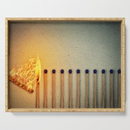 burning matches fire Serving Tray
