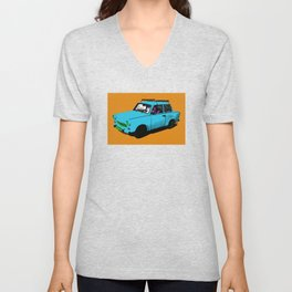 Trabant blue pop Unisex V-Neck