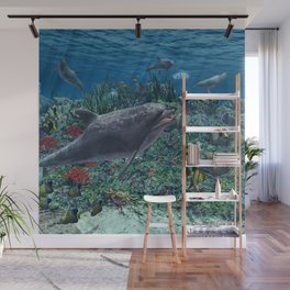 Dolphins play in the reef Wall Mural