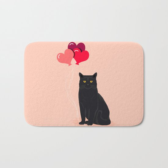 Black Cat Love balloons valentine gifts for cat lady cat people gifts ideas funny cat themed gifts Bath Mat
