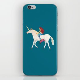 Red Haired Mermaid Rides the Unicorn iPhone Skin