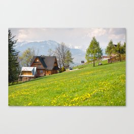 Bucolic spring meadow and house Canvas Print