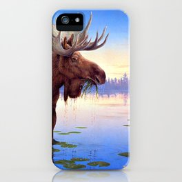 Big Elk Moose Grazing In Pond Ultra HD iPhone Case