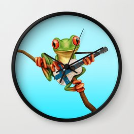 Tree Frog Playing Acoustic Guitar with Flag of Finland Wall Clock