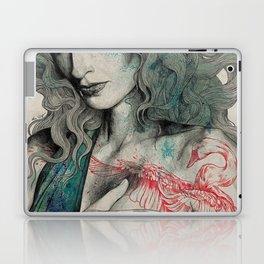 SGNL>05 (seminude street art portrait, topless lady with swan tattoo) Laptop & iPad Skin