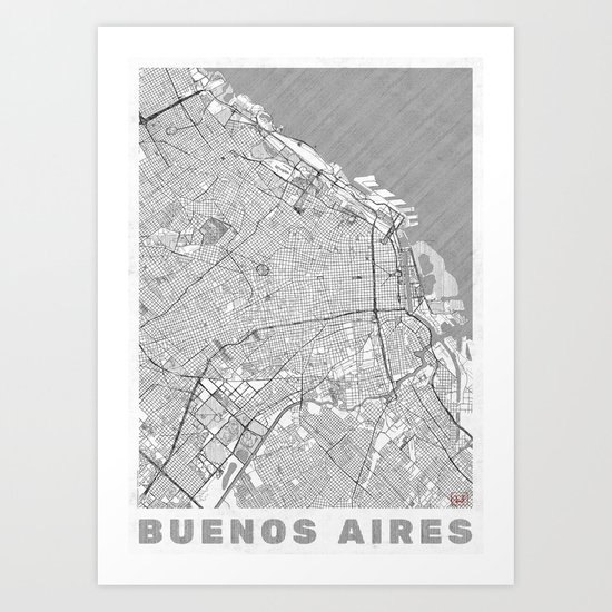 Buenos Aires Map Line Art Print