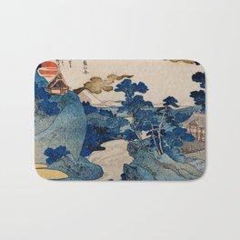 Cottages On Cliffs Traditional Japanese Landscape Bath Mat
