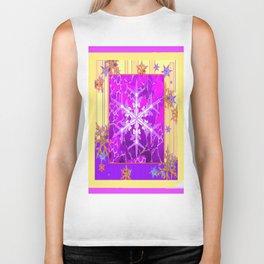 Fuchsia Purple Cream color Snowflake Fantasy Art Biker Tank