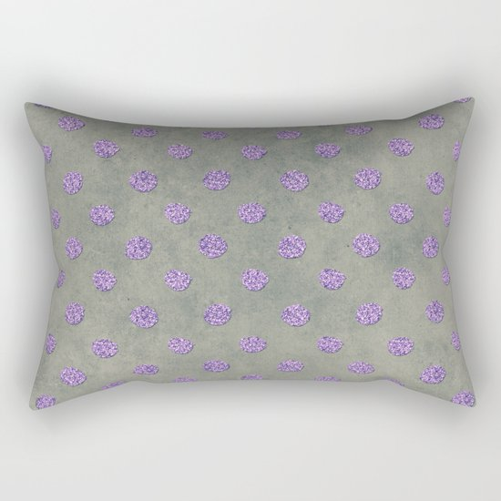 Purple Glitter Dots on Grunge Gray Rectangular Pillow