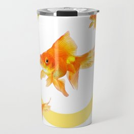 3 GOLDFISH SWIMMING PATTERN MODERN ART Travel Mug