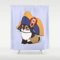 jojo Shower Curtains featuring Lièvre à Cornes en Chapeau by JoJo Seames