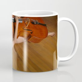 0149-JC Nude Cellist with Her Cello and Bow Naked Young Woman Musician Art Sexy Erotic Sweet Sensual Coffee Mug