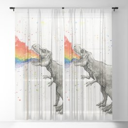 T-Rex Dinosaur Vomits Rainbow Sheer Curtain