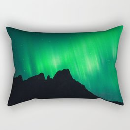Northern Lights above Sleeping Beasts Rectangular Pillow