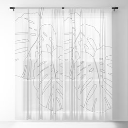 Monstera Leaves Finesse Line Art #1 #minimal #decor #art #society6 Sheer Curtain