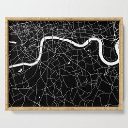 Black on White London Street Map II Serving Tray