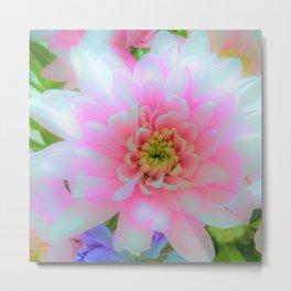 Bouquet in Blue and Pink 1 - enhanced Chrysanthemum Metal Print