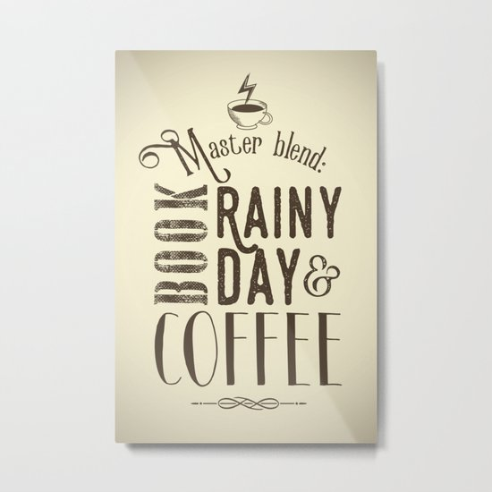 Coffee, book & rainy day II Metal Print