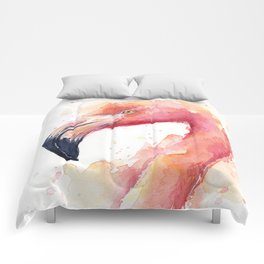 Flamingo Watercolor Pink Bird Tropical Animal Comforters